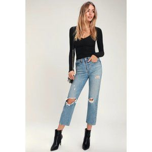 NWT Lulus black long sleeve ruched front crop top